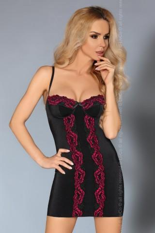 Секси черна нощничка с цветна дантела на LivCo - Roanna