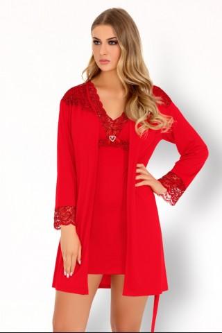 Секси комплект ярко червена нощница с халат на LivCo Corsetti - Sive