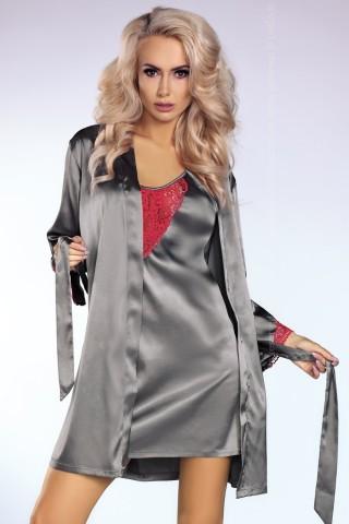 Изключително секси сатенен комплект нощница с халат на LivCo - Platinum