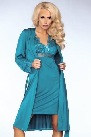Секси нощница с халат декорирани с дантела - LivCo Veronica