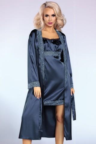Секси сатенен комплект нощница с халат на LivCo Yesenia