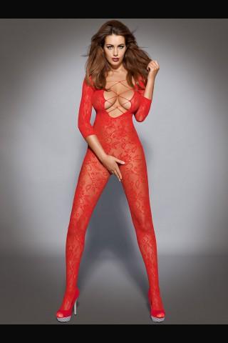 Нежно червено фигурално целокупно боди - Obsessive