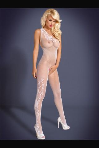 Секси мрежесто бяло целокупно боди Obsessive