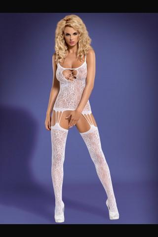 Секси бяло мрежесто целокупно боди Obsessive