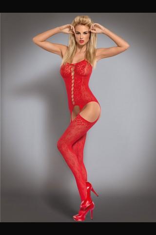 Секси червено мрежесто целокупно боди Obsessive