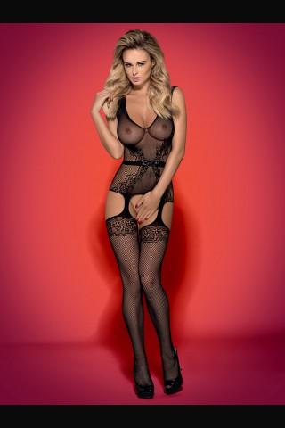 Секси черно мрежесто боди с игрива панделка - Obsessive