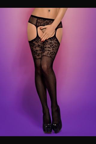 Секси мрежест чорапогащник - имитация на жартиери - Obsessive