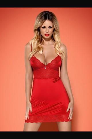 Невероятно секси червена нощничка от сатен и дантела - Obsessive Lovica