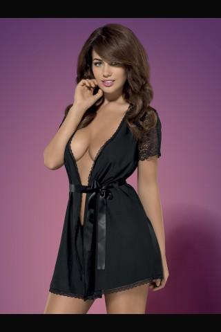 Секси черен халат със дантелени ръкави на Obsessive - Miamor