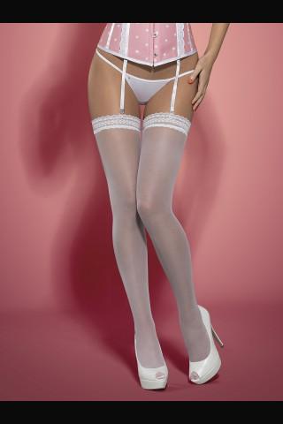 Нежни бели чорапи за жартиери на Obsessive